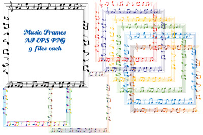 Music Frames Vector AI and EPS and PNG