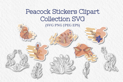 Peacock Stickers Collection, SVG files