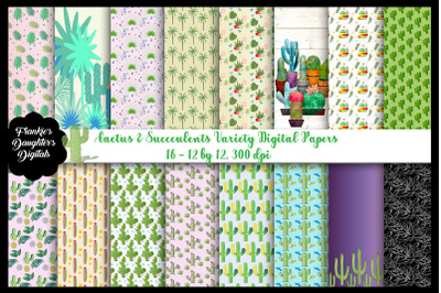 Cactus and Succulents Digital Papers