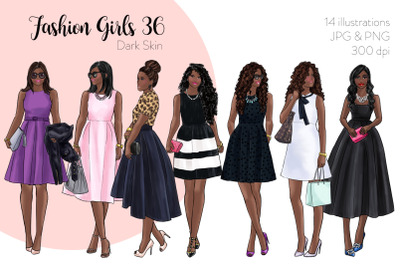 Watercolor Fashion Clipart - Fashion Girls 36 - Dark Skin