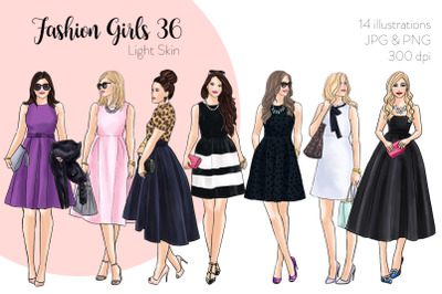 Watercolor Fashion Clipart - Fashion Girls 36 - Light Skin