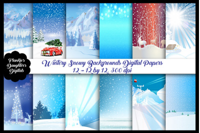 Wintery Snowy Backgrounds Papers