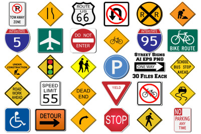 Street Signs AI EPS PNG