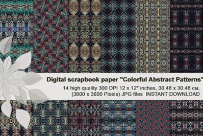 Dark colored boho patterns, Ethnic digital scrapbook paper.