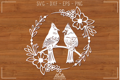 Cardinal Bird Papercut Svg Design