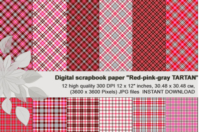 Red Pink Gray Plaid, Seamless Digital Paper.