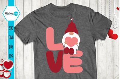 Love Gnome Svg, Valentines Gnome Svg