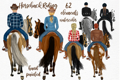 Horseback riding clipart, PEOPLE AND HORSES, Horse clipart