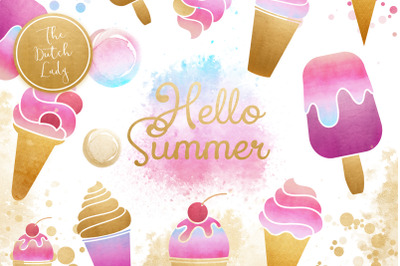 Summer Icecream & Popsicle Clipart Set
