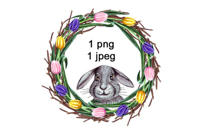 Watercolor Easter Wreath, bunny clipart
