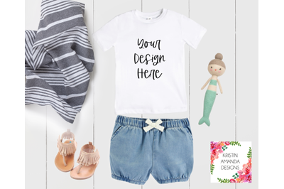 Toddler Summer Shirt Baby Bodysuit Onesie Mockup Image, Stock Photogra