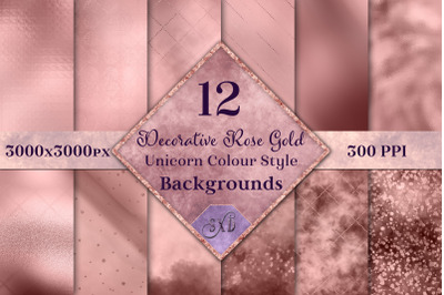 Decorative Rose Gold Unicorn Colour Style Backgrounds Textures Set