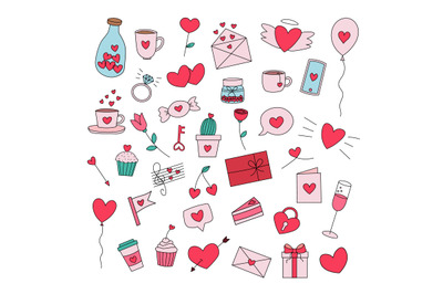 Set of hand drawn Valentine's day flat vector icons
