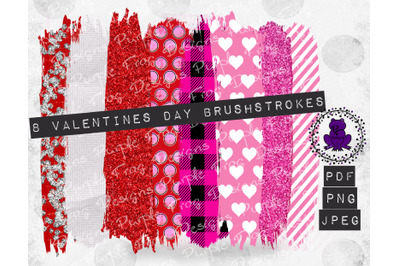 Brushstroke Bundle Valentines Red Pink Glitter