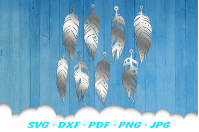 Feather Earring Template SVG DXF Cut Files Bundle