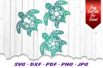 Mandala Sea Turtle SVG DXF Cut Files Bundle V3