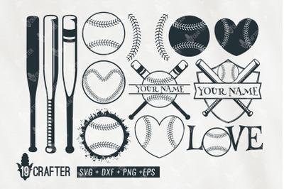 baseball equipment set and badge name svg bundle