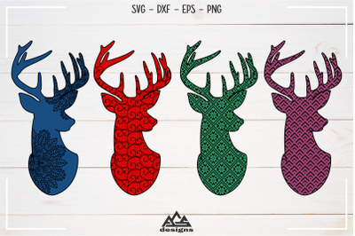Deer Reindeer with Pattern Svg Design