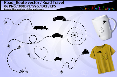 Road trip svg graphics / road travel dotted line svg