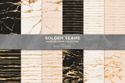 Golden Seams Marbled & Striped Backgrounds