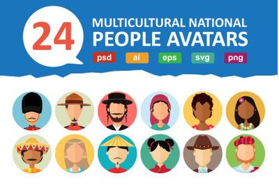 24 Avatars people national flat
