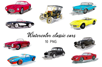 10 watercolor classic cars clipart