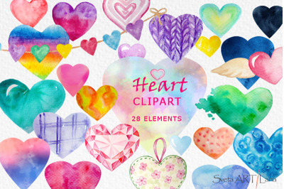 Hearts Watercolor clipart