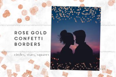 Rose gold confetti clipart borders, confetti frames, Valentine's day i