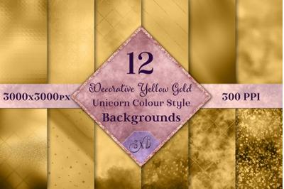 Decorative Yellow Gold Unicorn Colour Style Backgrounds Textures