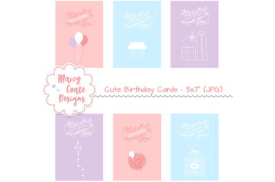 Cute Printable Birthday Cards 5x7 inches