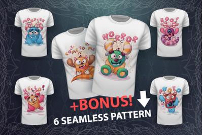 Set cute monster - for print t-shirt