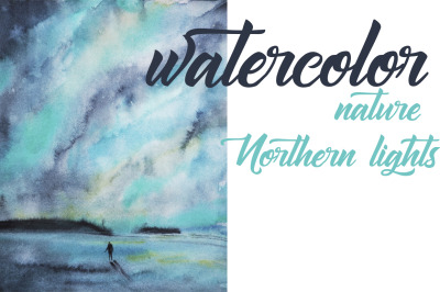 watercolor landscape Northern lights