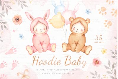 Hoodie Baby Watercolor Clip Arts