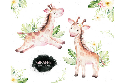 Giraffe watercolor collection