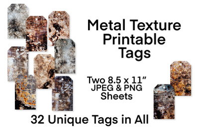 Metal Texture Printable Tags Collection