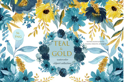 Teal and gold.  Watercolor floral collection.