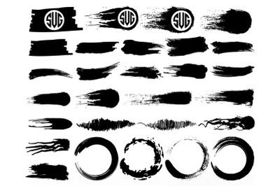 Brush Strokes SVG, Circle Brush SVG, Paint Splatter Monogram