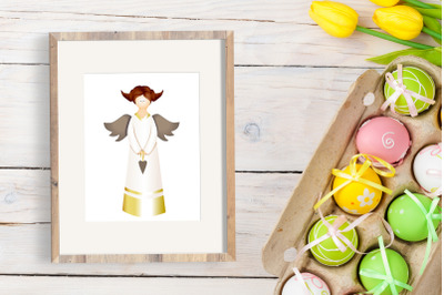 Angel illustration. Vector graphics. Isolated on a white background. G