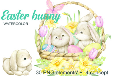 Watercolor Easter Bunny, Butterfly, Egg Clipart. Hand painted spring H
