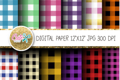 Colorful tartan Buffalo plaid digital paper