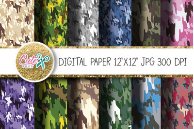 Colorful Camouflage texture, Camo 12x12 jpg digital paper