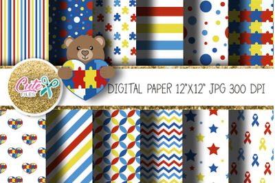 Autism digital paper for scrapbooking 12x12 in