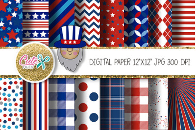Patriotic digital paper with gnome clipart