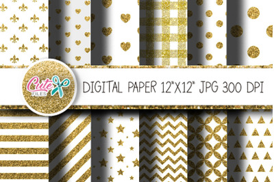 Gold glitter and white digital paper for scrapbook