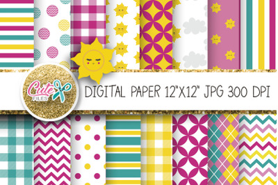 Litttle sun, summer digital paper for scrapbooking