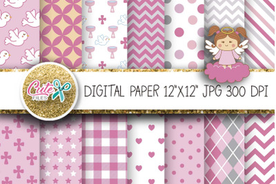 Baptism Digital Paper, Pink Angel clipart