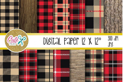 Red Buffalo plaid pattern, Lumberjack digital paper