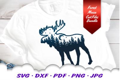 Moose Forest Moon SVG DXF Cut Files Bundle