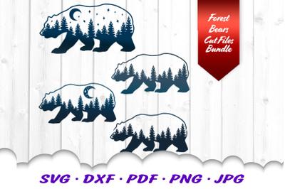 Bear Forest Celestial SVG DXF Cut Files Bundle
