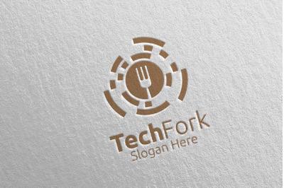 Tech Fork Food Logo Template for Restaurant or Cafe 17